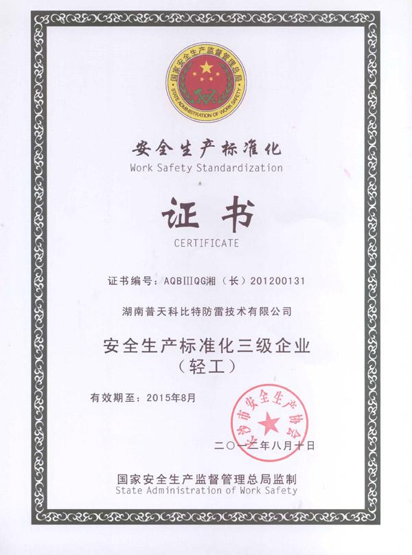安全生产标准化企业证书